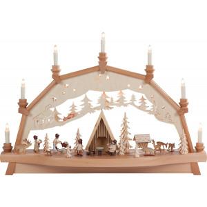Bewegter Schwibbogen Schutzhütte mit Figuren