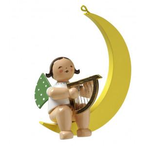 Engel mit Harfe im Mond