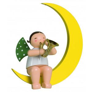 Engel mit Waldhorn im Mond, gross