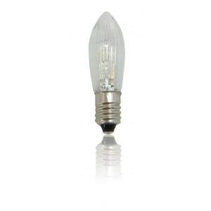 LED-Topkerze geriffelt 10-55V 0,1W klar mit zwei LEDs