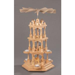 Teelichtpyramide Christi Geburt 4 Etagen