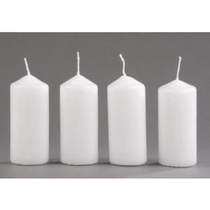 Stumpenkerzen weiß 90 x 40 mm - 4 Stück