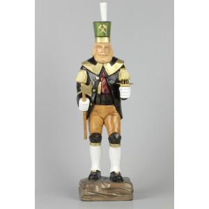 Geschnitzter Bergmann mit Messing-Kerzenhalter farbig, 47 cm