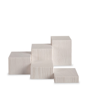 Miniatur Deko-Set, 5-teilig, Klötze sägerau, weiß