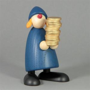 Gratulantin Goldmarie mit Talern, blau