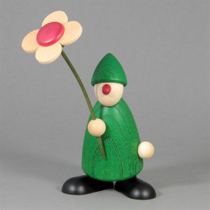 Gratulant Paule mit Blume gratulierend, grün
