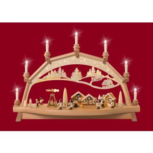 Bewegter Schwibbogen Weihnachtsmarkt mit Pyramide