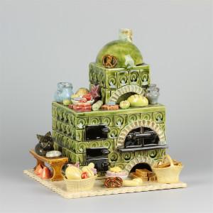 Keramik Räucherofen Zuckerbäckereiofen grün rund
