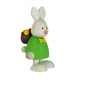 Osterhase Kaninchen Max mit Rucksack und Eiern