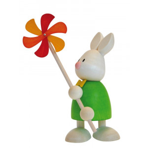 Osterhase Kaninchen Max mit Windmühle