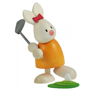 Osterhase Kaninchen Emma beim Golf - Abschlag