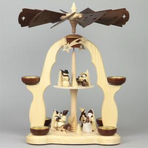 Weihnachtspyramide Winterkinder, 2-stöckig, 40 cm