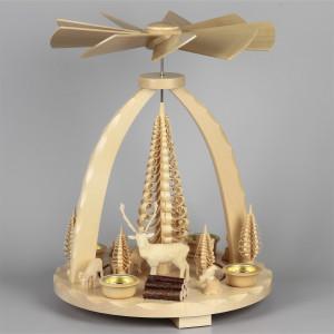 Geschnitzte Teelichtpyramide Wildtiere, groß