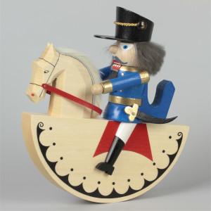Reiterlein Nussknacker König blau, lasiert