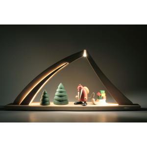 LED-Schwibbogen mit Weihnachtsmann mit Geschenkeschlitten, groß