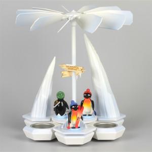 Teelichtpyramide Pinguine Wintersportler, weiß