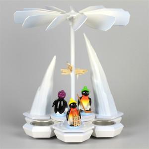 Teelichtpyramide Pinguine Freizeitsportler, weiß