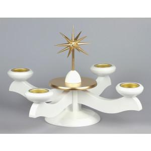 Adventsleuchter für Stumpenkerzen zum selbst Bestücken, weiß/gold