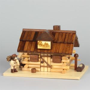 Räucherhaus Blockhaus Köhlerhütte mit Figur