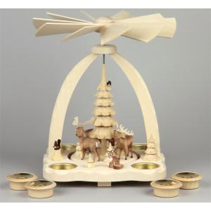 Geschnitzte Teelichtpyramide Hirsche farbig - 27 cm