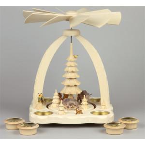 Geschnitzte Teelichtpyramide Wildschweine farbig - 27 cm
