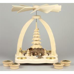 Geschnitzte Teelichtpyramide Bärenfamilie farbig - 27 cm