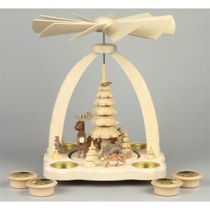 Geschnitzte Teelichtpyramide Wildtiere farbig - 27 cm