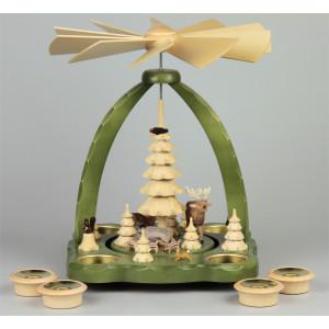 Geschnitzte Teelichtpyramide Wildtiere grün - 27 cm