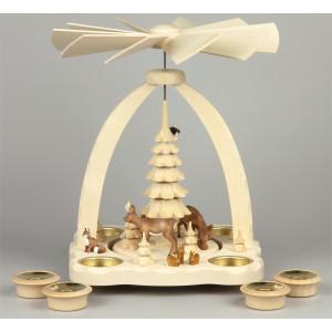 Geschnitzte Teelichtpyramide Rehe farbig - 27 cm