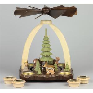 Geschnitzte Teelichtpyramide Rotwild braun - 27 cm