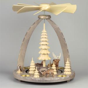 Geschnitzte Teelichtpyramide Wildtiere grau - 37 cm