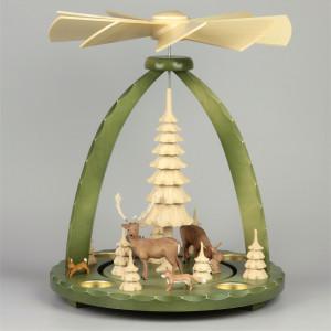 Geschnitzte Teelichtpyramide Hirschfamilie grün - 37 cm