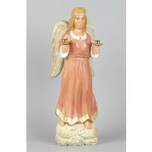 Geschnitzter Engel mit Messing-Kerzenhaltern, 40 cm