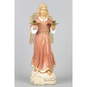 Geschnitzter Engel mit Messing-Kerzenhaltern, 31 cm