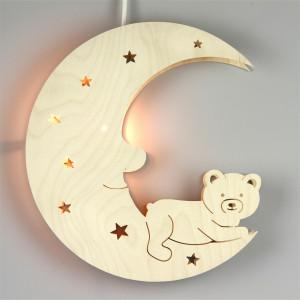 Doppel-Fensterbild Teddy auf Mond