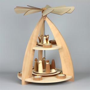 Moderne Teelichtpyramide mit Krippefiguren 2-stufig