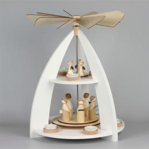 Moderne Teelichtpyramide mit Krippefiguren 2-stufig, weiß