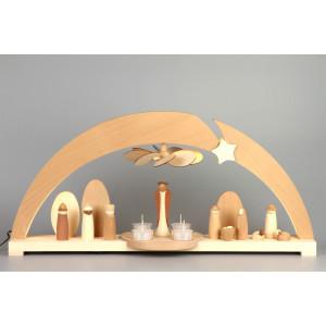 LED-Schwibbogen mit Flügelrad, Engel und Christi Geburt, Exklusiv-Edition