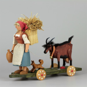 Großes Fahrspiel Bäuerin mit Ziege, groß