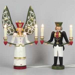 Lichterengel und Lichterbergmann farbig, 30 cm, elektrisch