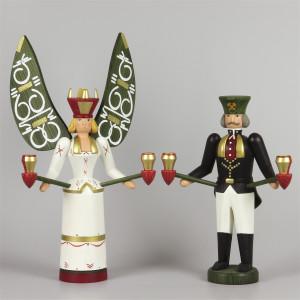 Lichterengel und Lichterbergmann farbig, 30 cm