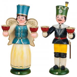 Engel und Bergmann für Wachskerzen, 22 cm