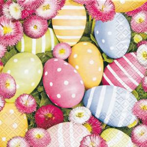Tischservietten Ostereier und Gänseblümchen