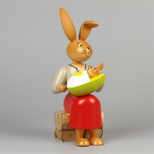 Osterhäsin mit Kind, 22 cm