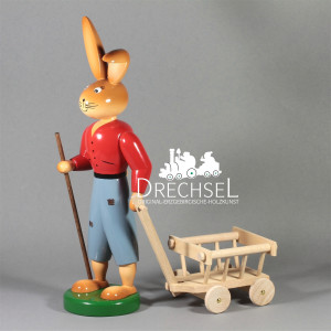 Osterhase mit Handwagen, 25 cm