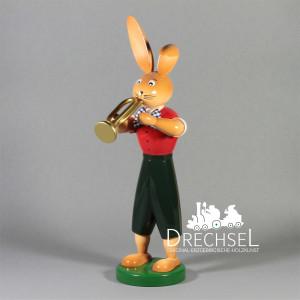 Osterhase Hase mit Trompete, 25 cm