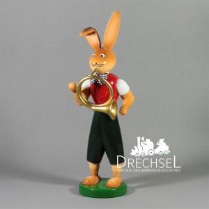 Osterhase Hase mit Waldhorn, 25 cm