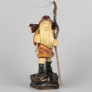 Geschnitzter Holzsammler farbig, 25 cm