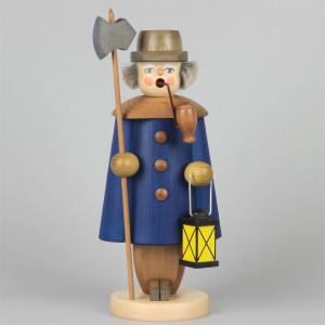 Seiffener Räuchermann Nachtwächter blau, 27 cm