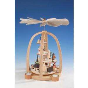 Teelichtpyramide Treppe mit Engel/Bergmann, bunt